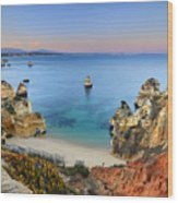 Praia Do Camilo At Sunset  Wood Print