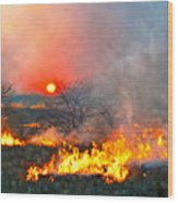 Prairie Burn Sunset In Kansas Wood Print