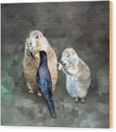 Prairie Dogs And A Bird Eating Wood Print