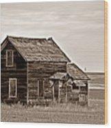 Prairie Home Sepia Wood Print
