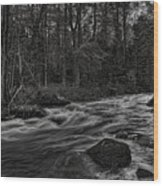 Prairie River Whitewater Black And White Wood Print