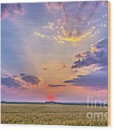 Prairie Sunset With Crepuscular Rays Wood Print