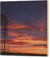 Prairie Sunset With Windmill Wood Print