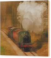 Prairie Train Wood Print by Skye Ryan-Evans