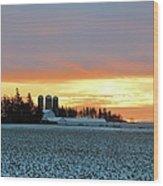 Prairie Winter Sunrise Wood Print