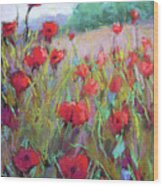 Praising Poppies Wood Print