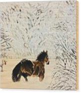 Prancing Through The Snow Wood Print