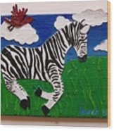 Prancing Zebra And Bird Wood Print