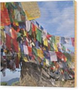 Prayer Flags In Happy Valley Wood Print
