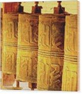 Prayer Wheels Wood Print