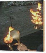 Prayers To Mother Ganga Wood Print