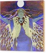 Praying Goodnight To The Moon Wood Print