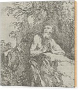 Praying Male Penitent In The Wilderness Wood Print