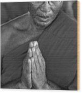Praying Monk Wood Print