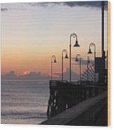 Pre-sunrise On Daytona Beach Pier   Wood Print