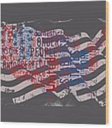 Preamble To The Constitution On Us Map Wood Print