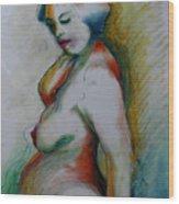 Pregnant Nude Wood Print