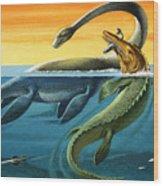 Prehistoric Creatures In The Ocean Wood Print