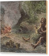Prehistoric Man: Pottery Wood Print