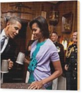 President And Michelle Obama Attend Wood Print