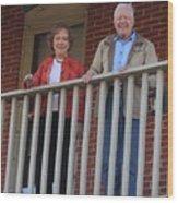 President And Mrs Carter On Plains Inn Balcony Wood Print