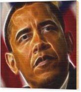 President Barack Obama Wood Print by Pamela Johnson