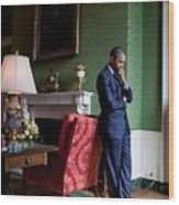 President Barack Obama Waits Wood Print by Everett