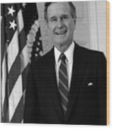 President George Bush Sr Wood Print by War Is Hell Store
