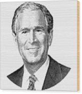 President George W. Bush Graphic - Black And White Wood Print