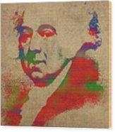 President John Adams Watercolor Portrait Wood Print