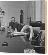 President Johnson Appears Agonized Wood Print