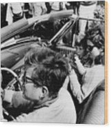 President Kennedy Drives An Open Car Wood Print by Everett