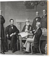 President Lincoln And His Cabinet Wood Print