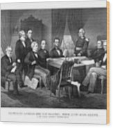 President Lincoln His Cabinet And General Scott Wood Print