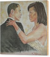President Obama And First Lady Wood Print by G Cuffia