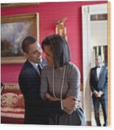 President Obama Hugs First Lady Wood Print