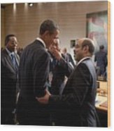 President Obama Talks With Ethiopian Wood Print by Everett