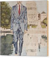 President Obama Walking On Water Wood Print
