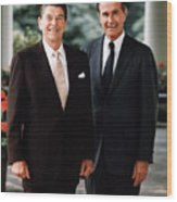 President Reagan And George H.w. Bush - Official Portrait  Wood Print