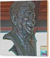 President Reagan Bust Wood Print