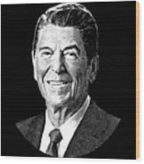 President Ronald Reagan Graphic - Black And White Wood Print