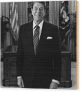 President Ronald Reagan In The Oval Office Wood Print