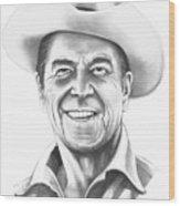 President Ronald Regan Wood Print