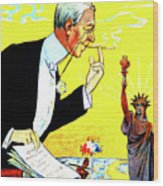 President Woodrow Wilson And The 15th Proposition For The League Of Nations Wood Print