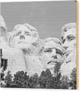 Presidents Of Mount Rushmore Framed By South Dakota Forest Trees Panoramic Black And White Wood Print