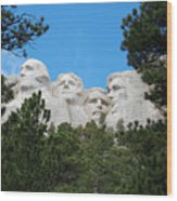 Presidents Of Mount Rushmore Framed By South Dakota Forest Trees Wood Print