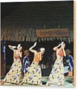 Pretty Dancers In Tahiti Wood Print
