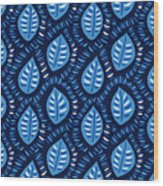 Pretty Decorative Blue Leaves Pattern Wood Print