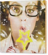 Pretty Geek Girl At Birthday Party Celebration Wood Print