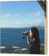 Pretty Girl Looking Through Binoculars Wood Print